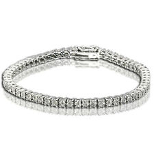 Ladies Womens White Gold Finish Genuine Diamond Cluster Tennis Bracelet 1/4 Ct