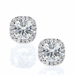 Image Is Loading Cushion Cut Solitaire 2 05 Ct Diamond Earrings