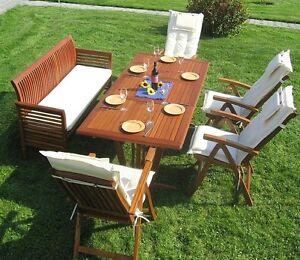 Sitzgruppe Holz Massiv Seven Eckig Auflagen Garten Set