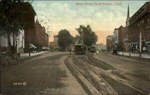 New-Britain-CT-Main-St-Trolleys-c1910-Postcard