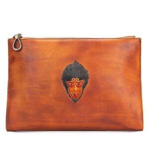 Men-Genuine-Leather-Long-Large-Clutch-Purse-Messenger-Bag-Brown-Zipper-Wallet-S