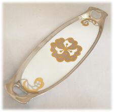 RS Germany Porcelain Handled Oblong Plate Platinum Gold Handpainted 1928 RARE
