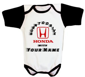 Honda Racing Motorcycle Car Logo Baby Personalized Gift Bodysuit Jersey Black