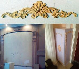 B style unpainted wood oak carved corner onlay applique for Applique furniture decoration