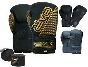 EVO-Maya-Leather-Boxing-Gloves-GEL-MMA-Punch-Bag-Sparring-Training-Muay-Thai