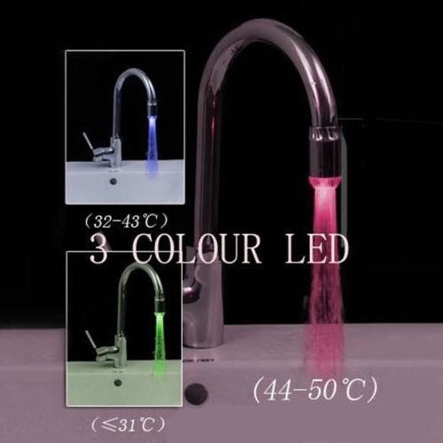 New 3 Color Sensor LED Light Water Faucet Tap Temperature For kitchen/Bathroom