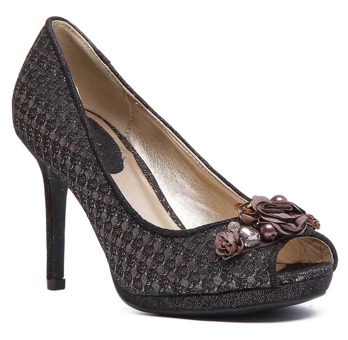 Ruby Shoo Sonia Womens Velvet Bronze Peep Toe High Heel shoes UK Size 3 - 8
