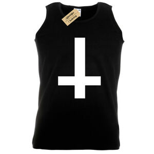 b914781ce09 Details about Inverted Cross Mens Tank Top Black Goth Rock Vest