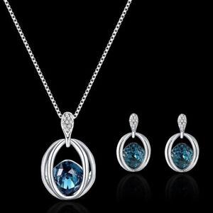 Halskette-Ohrringe-Kristall-Elegante-Damen-Schmuck-Set-aus-Kristall-Anhaenger-OE