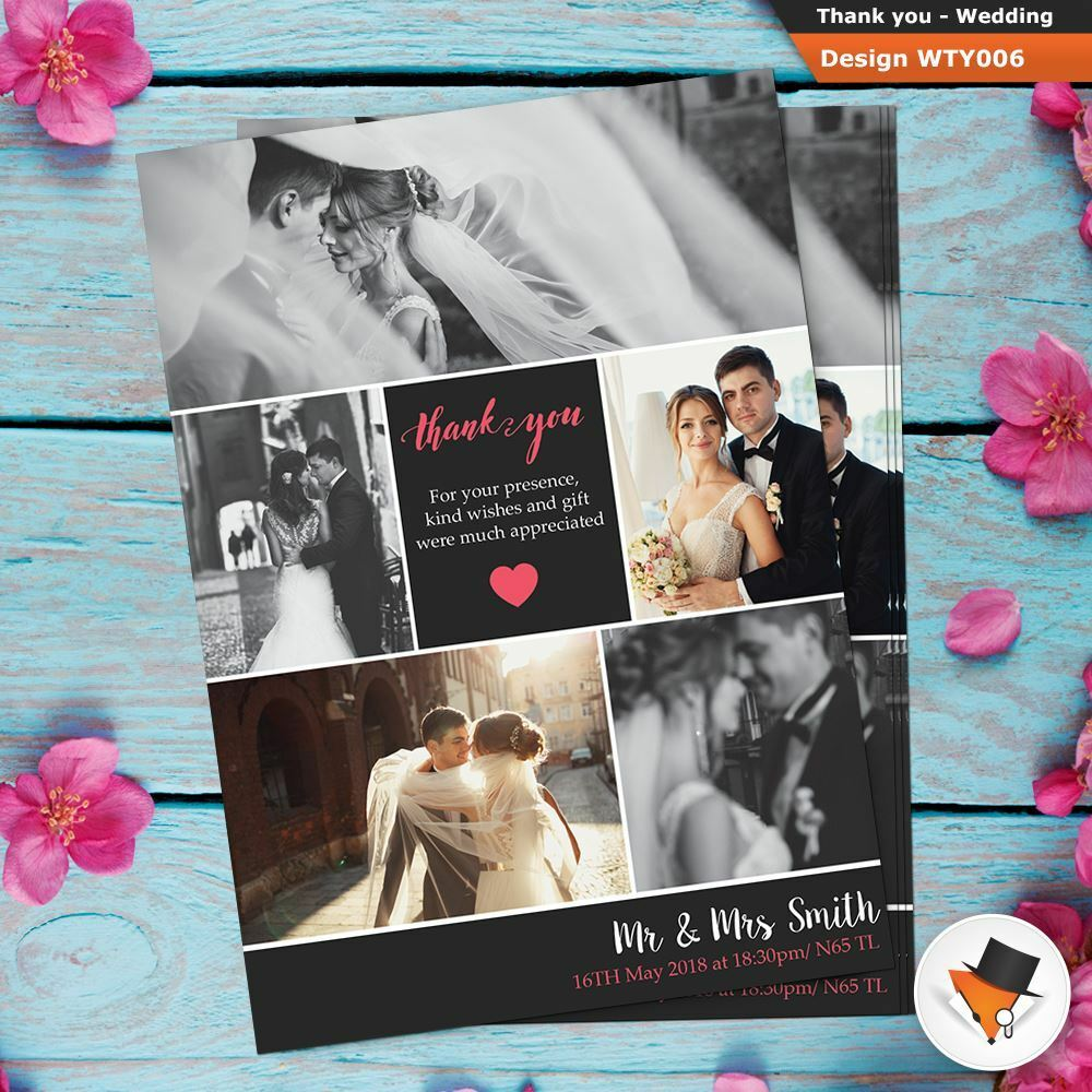 5 Photos WEDDING Thank You Cards Personalised Fast Post + Free Proof Provided