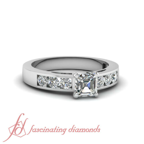 Dainty Shimmer Engagement Ring Channel Set 0.70 Ct Asscher Cut VVS2 Diamond