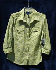 KAREN SCOTT BUTTON DOWN TOP SHIRT BLOUSE GREEN  SIZE M   3/4 SLEEVE NWT