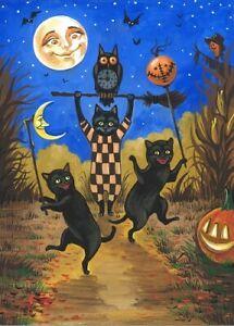 ACEO PRINT OF PAINTING HALLOWEEN RYTA FOLK BLACK CAT JOL OWL VINTAGE STYLE MOON