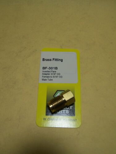 """Brass Fitting Adapter with 3//16/"""" female OD to 5//16/"""" male OD tube"""