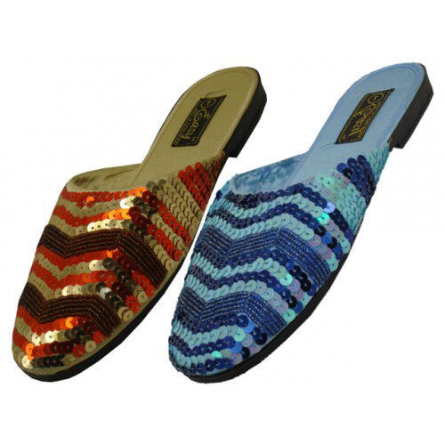 Women's Beaded Sequin Platform Sizes Slippers Sandals Gold Blue Sizes Platform 5-11 New a3ae87