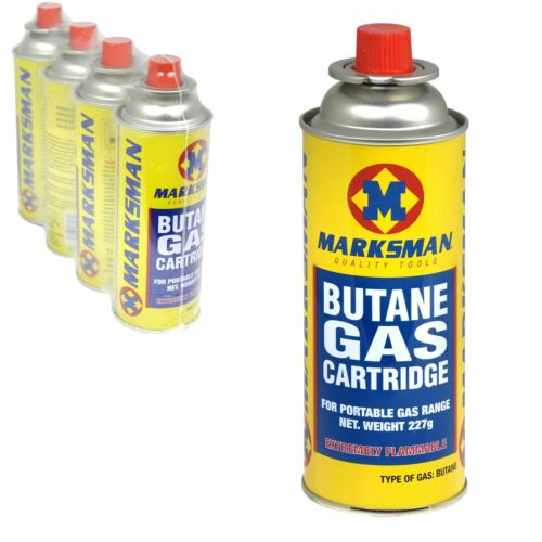4x Marksman Butane Gas Cartridge for Camping Caravan Portable Cooking Stoves