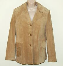 Women's Genuine Leather Suede Jacket Blazer Beige Tan Taupe Size Large Mossimo