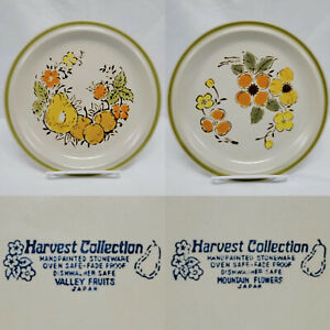 Vintage Stoneware Plates Harvest Collection Valley Fruits Mountain Flowers Japan