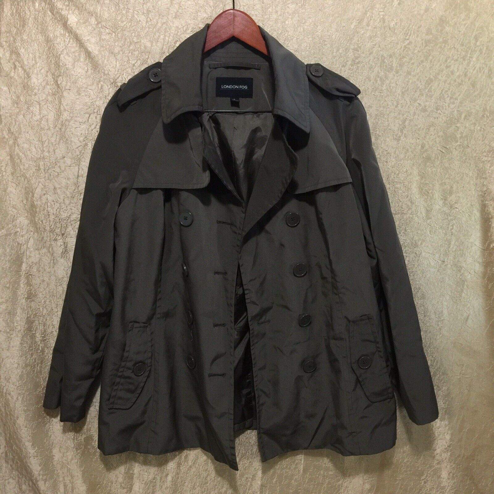 London Fog Double-Breasted Trench Coat Lined Oliv… - image 1