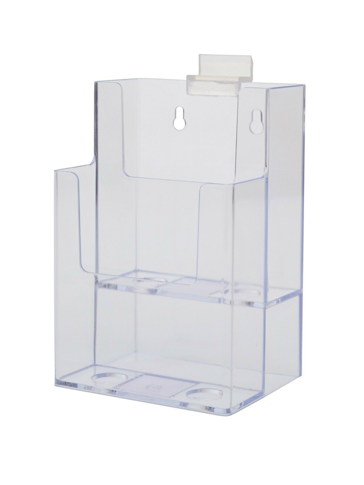 Lot of 12 Clear Acrylic 2-Tier Slatwall Brochure Holder for 4 w Literature