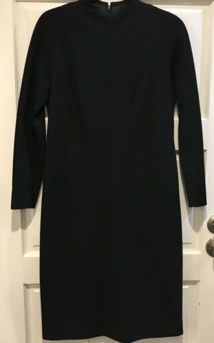 Vtg 1950s Pauline Trigere Black Dress Long Sleeve
