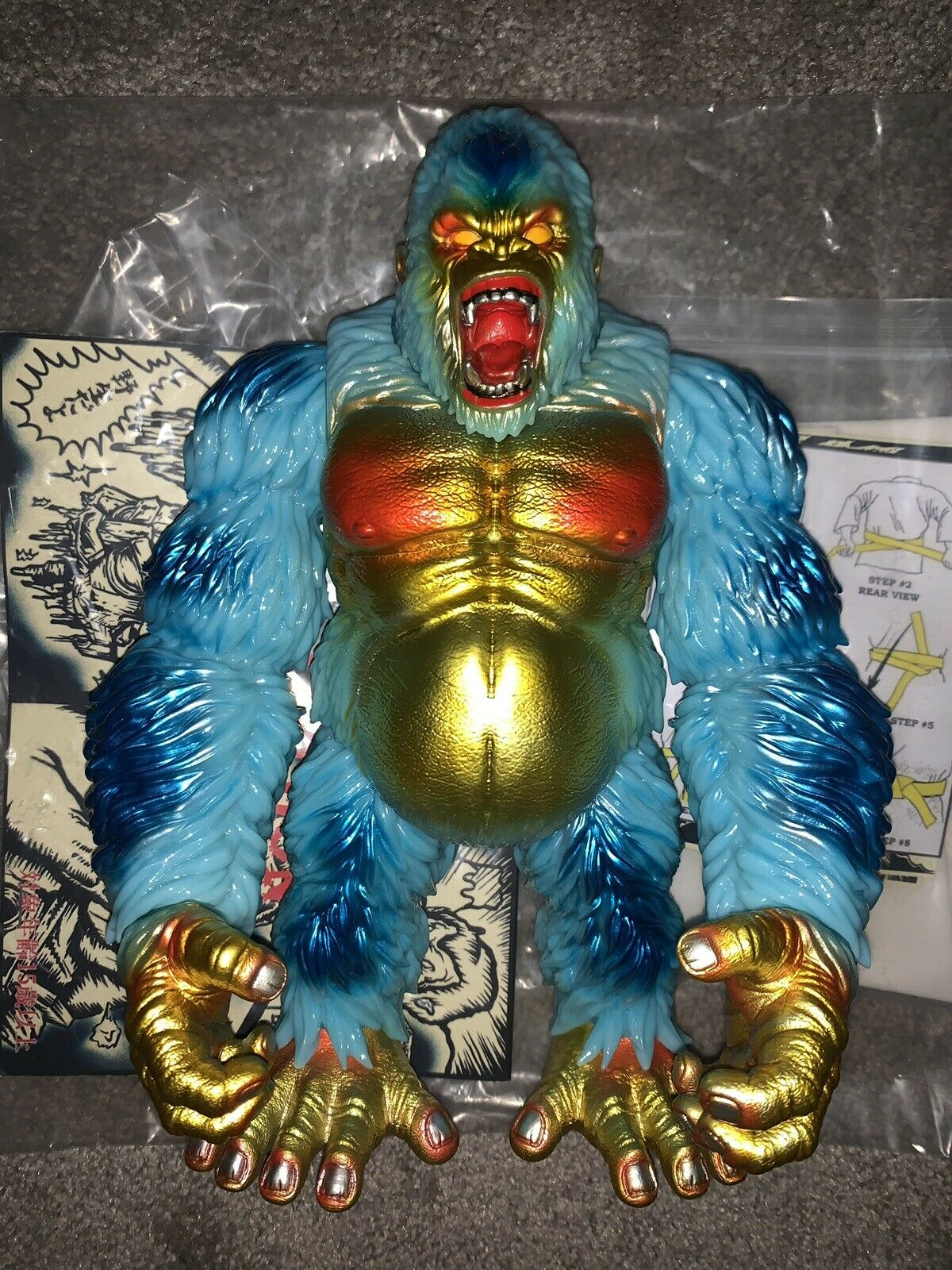 Planet X Death Goliathon bluee & gold Vinyl Figure With Jacket Sofubi Kaiju