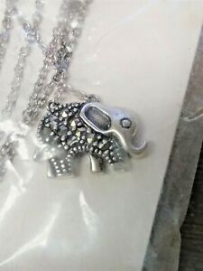 elephant jewellery lucky necklace silver elephant pendant marcasite necklace Elephant silver necklace chain pendant animal necklace
