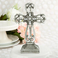 Large Cross Statue W/ Antique Accents Religious Baptism Wedding Favors 5-15 Qty