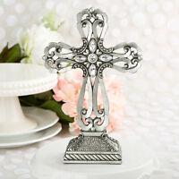 Large Cross Statue W/ Antique Accents Religious Baptism Wedding Favors 5-15 Qty