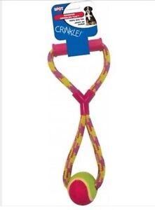 Giocattolo-per-cane-Rimorchiatore-Corda-etici-Spot-Rainbow-Crinkler-Rimorchiatore-palla-da-tennis-e