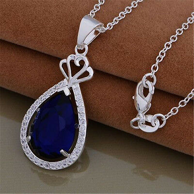 Wholesale Solid 925Silver Jewelry Blue Stone Pendant Necklace Chains Xmas Gift