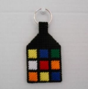Rubiks-Rubix-Cube-Flat-2-Sided-Handmade-Plastic-Canvas-Keychain-Key-Ring