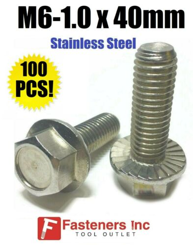 QTY 100 M6-1.0 x 40MM Stainless Steel Hex Cap Flange Bolt Serrated Metric