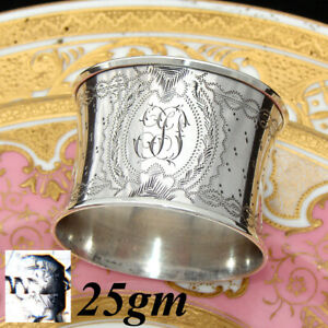 Antique-French-Sterling-Silver-Napkin-Ring-Ornate-Engraved-Decoration-Convex