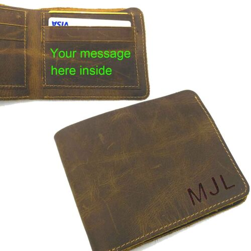 Personalized Engraved Men/'s Leather Bifold Wallet Valentine Birthday Gift