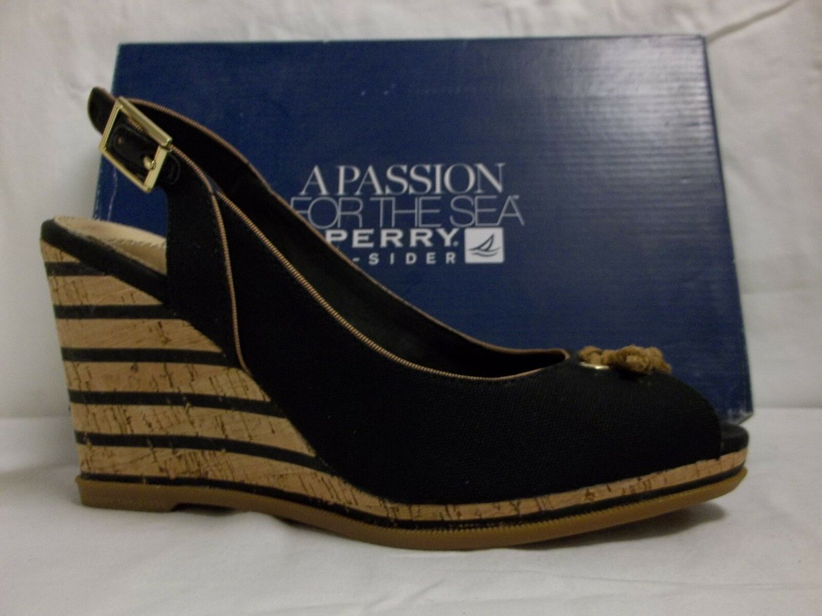 Sperry Top Sider Sz 9.5 M Mabel Black Canvas Slingbacks Wedges New Womens shoes