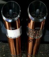 Copper Trudeau automatic Salt & pepper mill set grinder flip it New