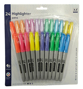 Paquete-De-24-plumas-Variadas-Resaltador-De-Neon-amp-tonalidades-pastel-a-granel-Set-bpsh