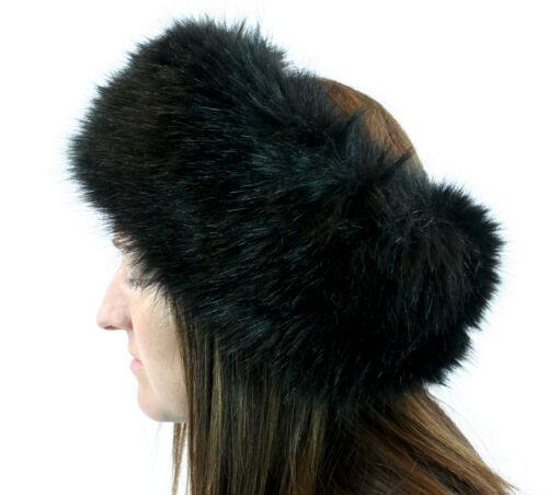 Serre-tête en fourrure synthétique noir head wrap oreille deux articles Hiver Chaud Oreille Femmes Fille Mode