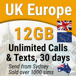 Details about Europe UK Travel Prepaid SIM Card, 12GB data, Unlimited Calls  & SMS, 30 days
