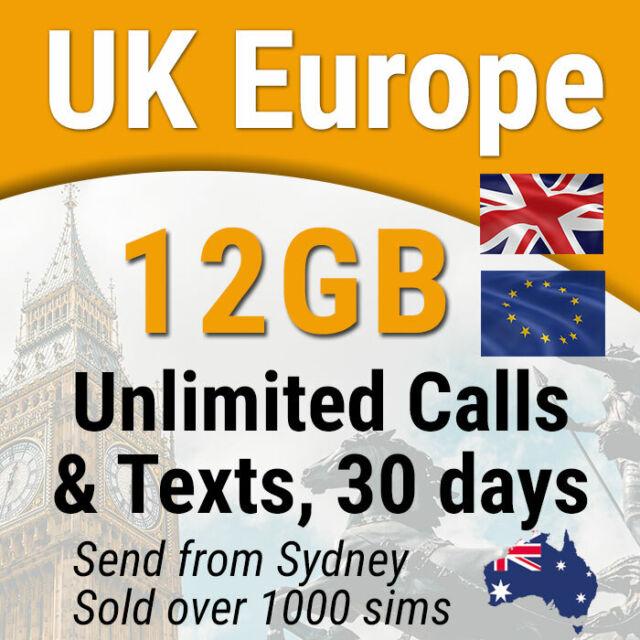 Europe UK Travel Prepaid SIM Card, 12GB data, Unlimited Calls & SMS, 30 days