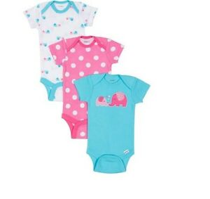 Gerber-Baby-Girl-3-Piece-Elephant-Polka-Dots-Onesies-Size-NB-BABY-CLOTHES-GIFT