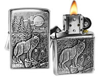 Zippo Lighter 20855 Timber Wolves Emblem Brushed Chrome Classic