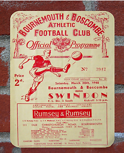 Vintage Bournemouth   Tin Sign   Programme Metal Sign. Man Cave