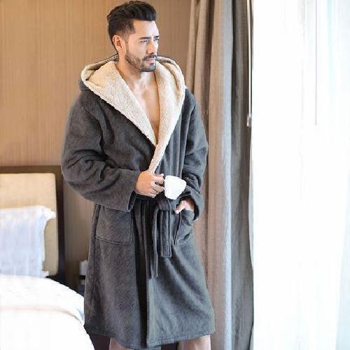 caldo regalo di degli accappatoi Comfort uomini per lunghi lui lusso Inverno con accappatoio morbido cappuccio dqZ7xwZ5tn