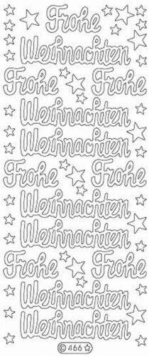 Glitzer Nr 466 Weiß Frohe Weihnachten Stickerbogen