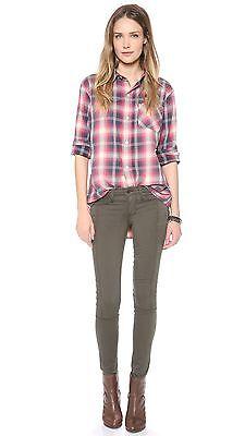 $257 Taglie 24 Xs Genetic Oliva Moto Soma Vita Bassa Skinny Legging Jeans Nuovo