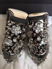 Dolce & Gabbana RUNWAY FW/2016 Mary Jane Silver Stud Crystal Flower Heels Sz 38