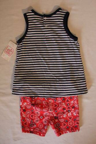NEW Baby Girls 2 Pc Set 18 Months Red White Blue Outfit Sleeveless Shirt Shorts