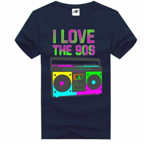 I Love THe 90s Music Printed T-Shirt Top Ladies Mens Kids Party Tee Shirt
